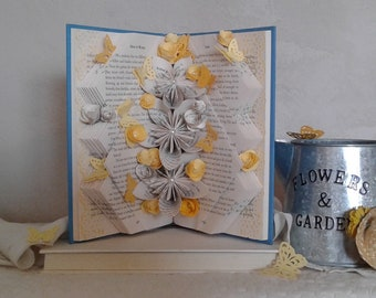 Book Sculpture, Altered Book, Book Bouquet, Origami Flowers, Book Page Flowers, Book Theme Gift, Teacher Gift, Librarian Gift, Gardener Gift