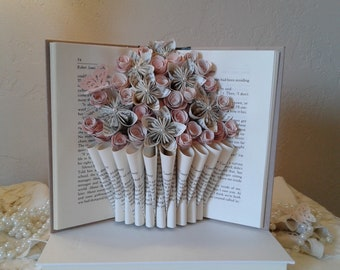 Book Sculpture, Altered Book, Book Bouquet, Origami Flowers, Book Page Flowers, Book Theme Gift, Teacher Gift, Birthday Gift, Recycled Books