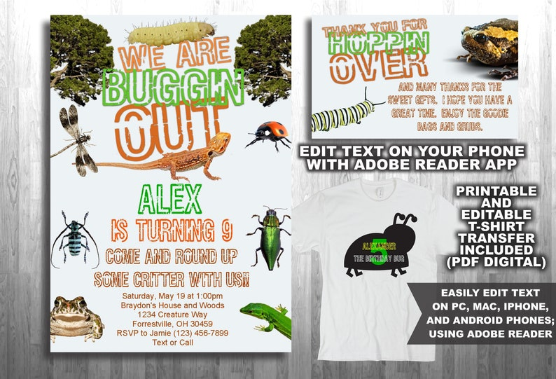 Bug Theme Birthday Party Invitation, Thank You Card, + T Shirt Transfer  Instant Download, Editable  ios, iphone, android, galaxy  t-shirt
