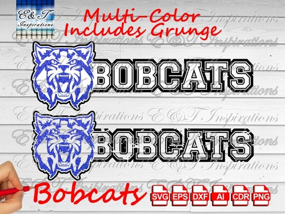 Bobcats Text Mascot Vector Svg Cut Files Ai Eps Dxf Silhouette Etsy