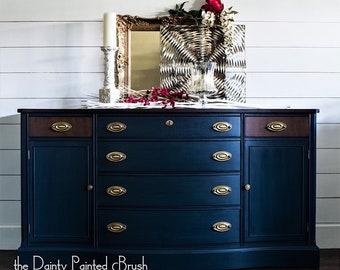 Sold Example : Bassett Navy Blue Buffet, Painted Furniture, Painted Buffet,  Vintage Furniture, Classic Furniture, Chic Furniture, Buffet