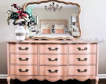 Sold Example: French Provincial 9 Drawer Dresser And Mirror Set, Painted  Furniture, Painted Dresser, Chic Furniture, Vintage Furniture