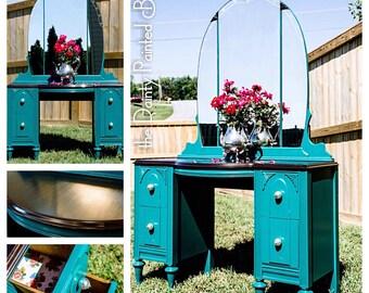 Sold Custom Work Example: Antique Vanity and Mirror, Painted furniture, painted vanity, vanity, antique furniture, makeup vanity