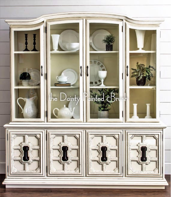 image 0 - SOLD EXAMPLE..Antique White China Cabinet Painted Furniture Etsy