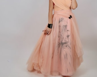 Handmade Ajlena Nanic Couture One Of A Kind Mesh Fabric Peach Tutu Skirt Size S