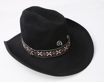 48dae7b55ed6f Vintage JOHN B STETSON Black 3X Beaver Cowboy Hat Size 7