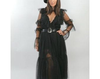 AJLENA NANIC Black Tulle Sheer Polka Dot Ruffle 2 Piece Skirt Set Suit Size S