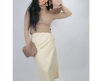 Ajlena Nanic Beige Ribbed Knit Turtleneck Oversized Bell Sleeve Sweater Size S