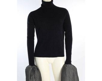 Ajlena Nanic Black Ribbed Knit Turtleneck Oversized Bell Sleeve Sweater Size S