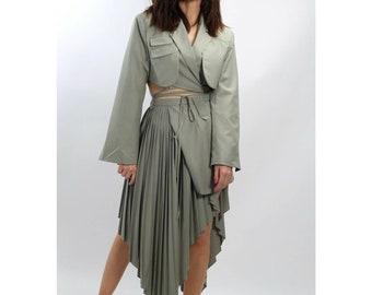 Ajlena Nanic Pastel Green 2 Piece Blazer Pleated Asymmetric Skirt Suit Size M