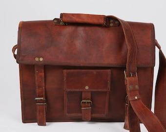 Vintage Brown Leather Messenger Crossbody Shoulder Bag