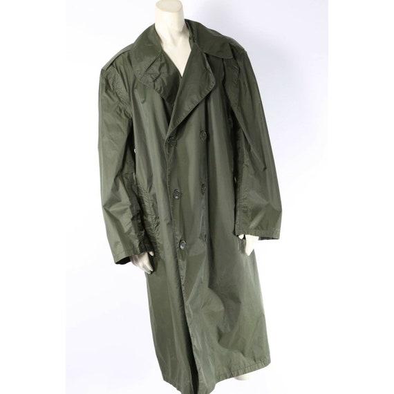 Vintage Unbranded Olive Green Nylon Trench Rain C… - image 3