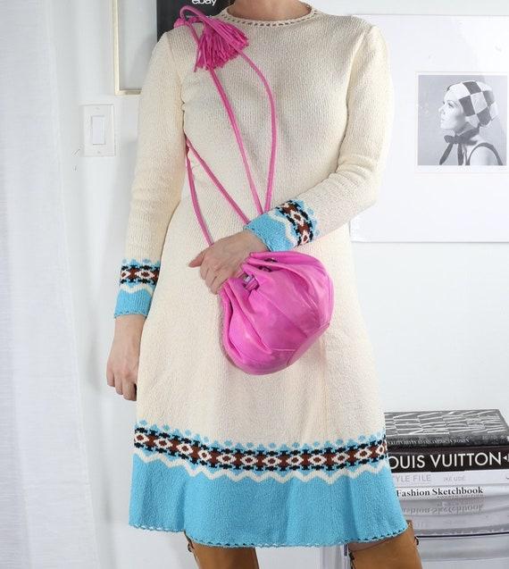 Vintage MALABABA Pink Leather Drawstring Fringe Bu