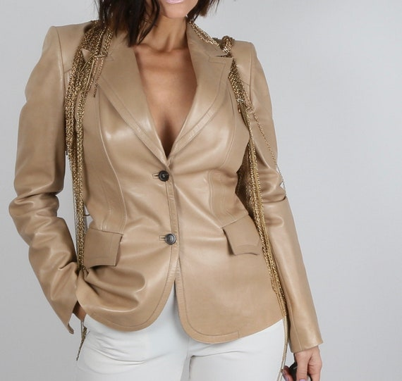 Vintage GUCCI Beige Tan Leather Blazer Jacket Size