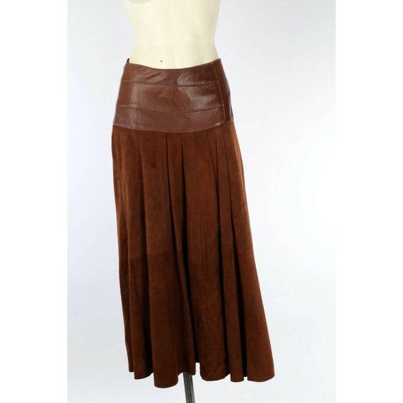 Vintage Liz Roberts Brown Leather Suede Pleated Mi