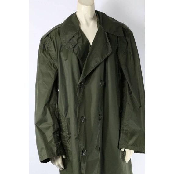 Vintage Unbranded Olive Green Nylon Trench Rain C… - image 4