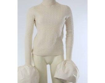 AJLENA NANIC Ivory Wool Cashmere Turtleneck Oversized Bell Sleeve Sweater Size S