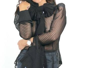 Ajlena Nanic Exaggerated Black Oversized Silk Chiffon Bow Choker Necklace NWB