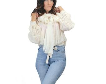 Oversized Exaggerated Off-White Silk Chiffon Bow Choker Necklace Ajlena Nanic