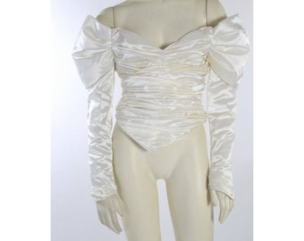 Vintage Recycled by Ajlena Nanic White Satin Ruched Off Shoulder Blouse Top XS