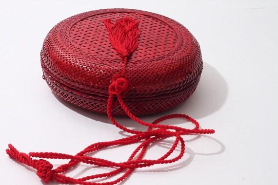 Handmade Red Round Woven Straw Shoulder Bag