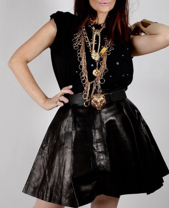 Vintage VERSACE Black Leather Pleated Skirt Size 3