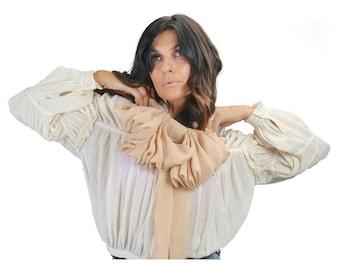 Oversized Beige Exaggerated Silk Chiffon Bow Choker Necklace by Ajlena Nanic NWB