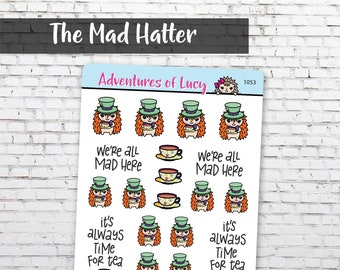 The Mad Hatter sticker sheet, planner stickers