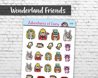 Wonderland Friends sticker sheet, planner stickers