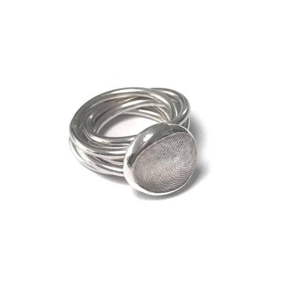 Custom Made Personalised Stackable Fingerprint Ring