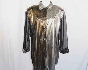 Vintage Disco Silver Gold & Black Sheer Sleeve 1980's Shirt