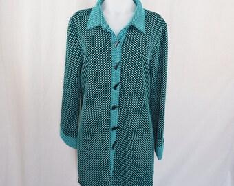 Vintage 1970's Disco Blue Dot Long Sleeve Shirt