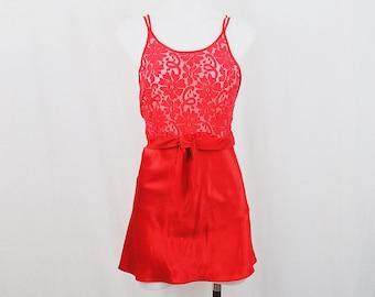 Red Lace & Silk Halter Night Gown Mini Dress