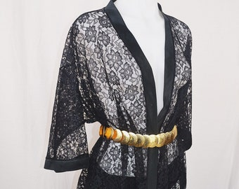 Vintage Black Lace Robe
