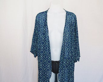 Vintage Sheer Blue and Green Earth Shawl