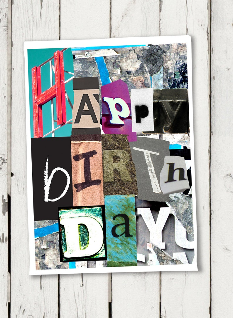 Printable Happy Birthday Card Collage Instant Download