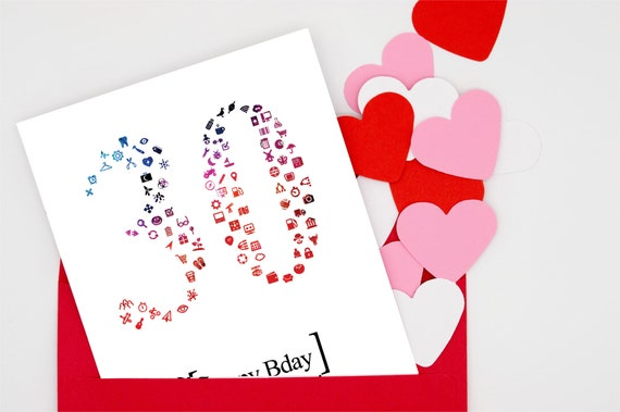 4 Printable Happy Birthday Card Customized Numbered 20 To 40