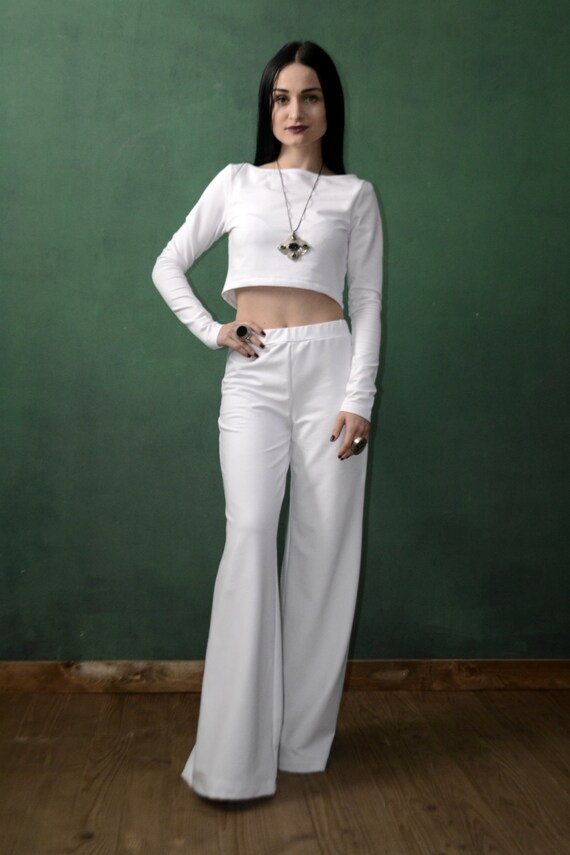 c80838cd401 White Elegant Wide Bohemian Pants Harem Pants Plus Size