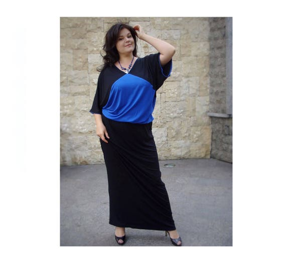 b784fd7f051 Elegant plus size dress maxi dress black and blue jersey