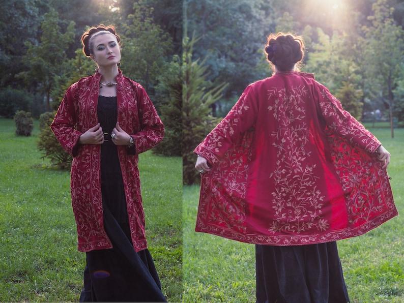 7bfde917b09c Vintage style bohemian burgundy embroidery jacket Kashmiri   Etsy