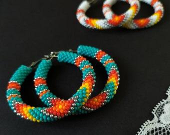 Beaded earrings Native american style Turquoise Big Hoop earrings
