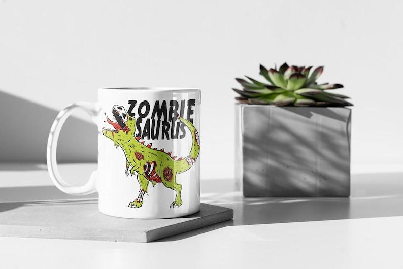 Zombiesaurus Mug  Funny Mug  Zombie Mug  Dinosaur Mug  image 0