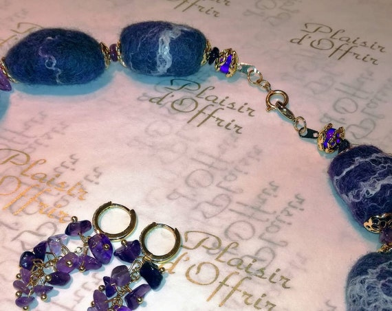 A felt wool necklace and earrings with natural Amethyst stones