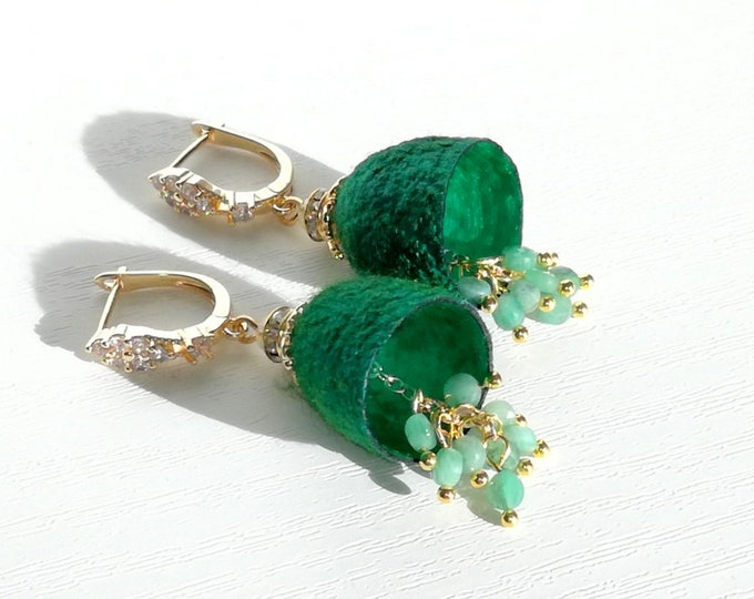 Earrings cocoons silkworm with natural emerald stones