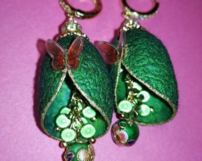 Silkworm cocoon earrings with magic beads and a small butterfly