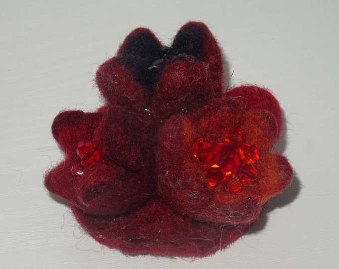 Felted wool brooch with Swarovski glass beads