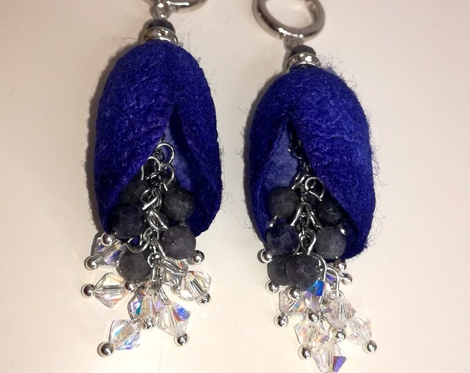 Silkworm earbuds with natural sapphire stones and Swarovski glass beads