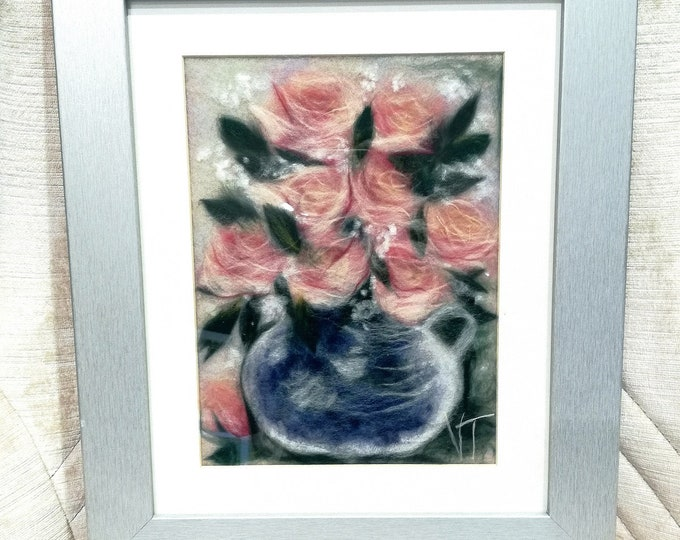 "Painting made of watercolor wool ""Bouquet de Roses"""