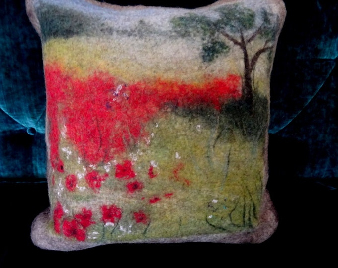 Decorative cushion in felted wool.  Poppy field