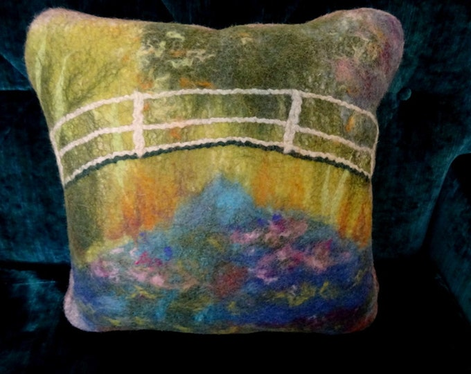 "Decorative cushion in felted wool. Claude Monet/Reproduction of the painting ""Japanese Garden"""